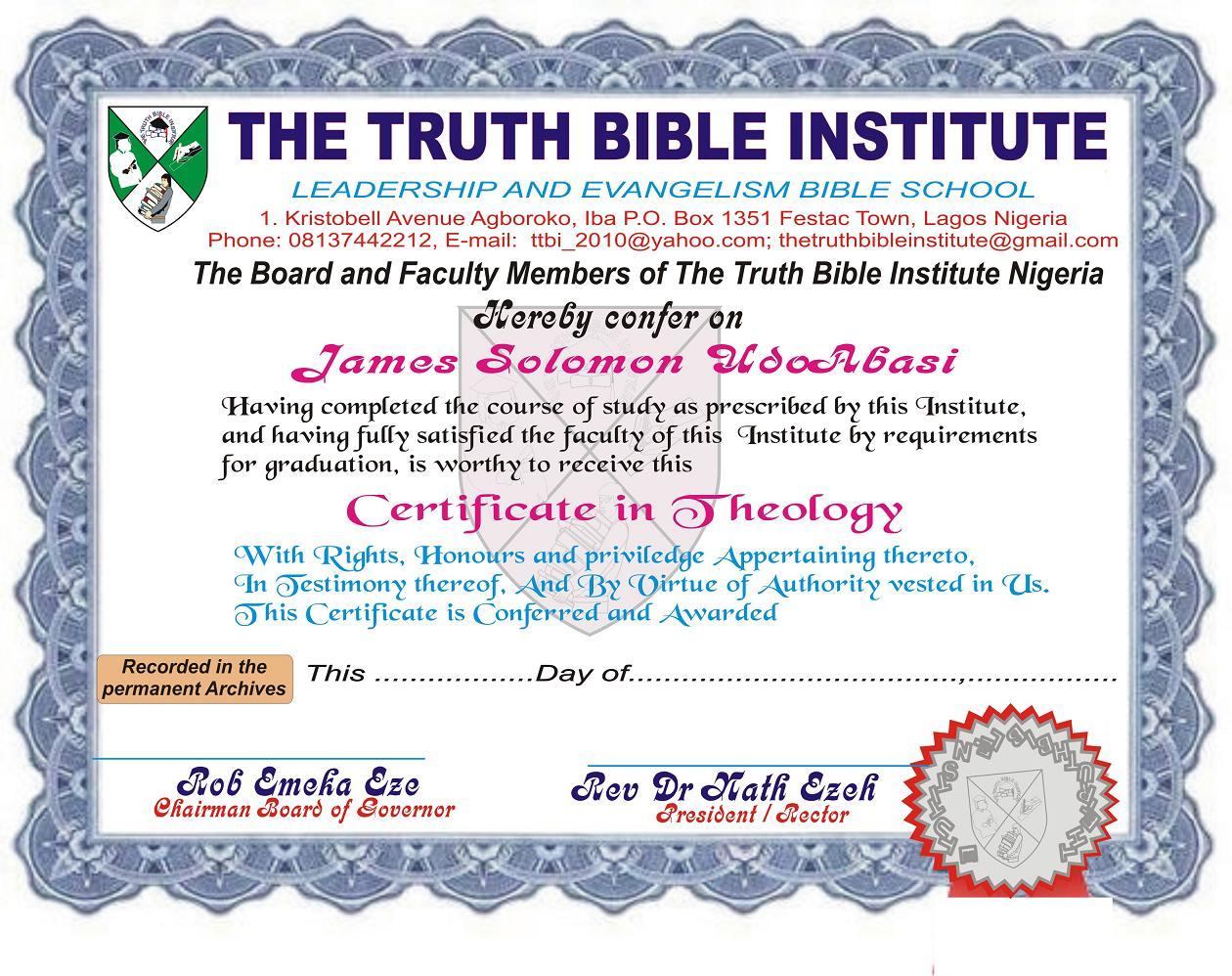 sample school certificate